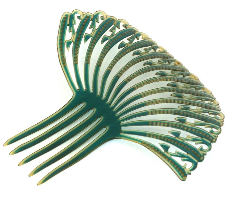 Art Deco French Comb with Green and Blue Pastes For Sale 1