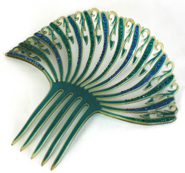 Art Deco French Comb with Green and Blue Pastes In Excellent Condition For Sale In Riverdale, NY