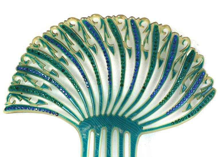 Women's Art Deco French Comb with Green and Blue Pastes For Sale