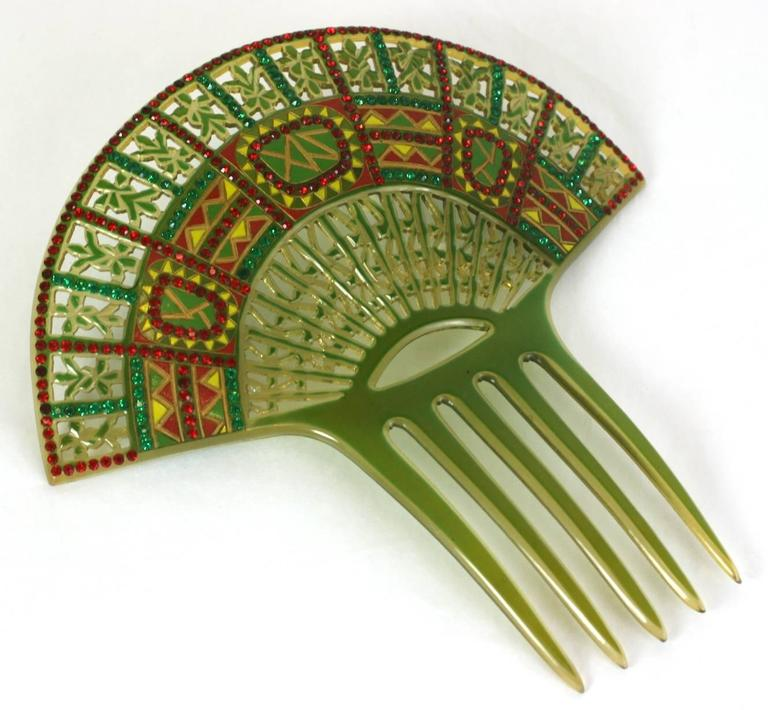 Brown Art Deco Eygptian Revival Comb For Sale