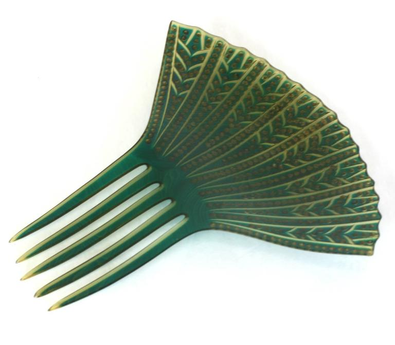 Women's Elaborate French Art Deco Paste Comb For Sale