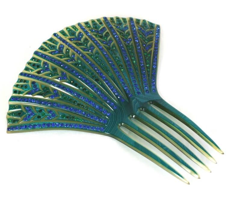 Blue Elaborate French Art Deco Paste Comb For Sale