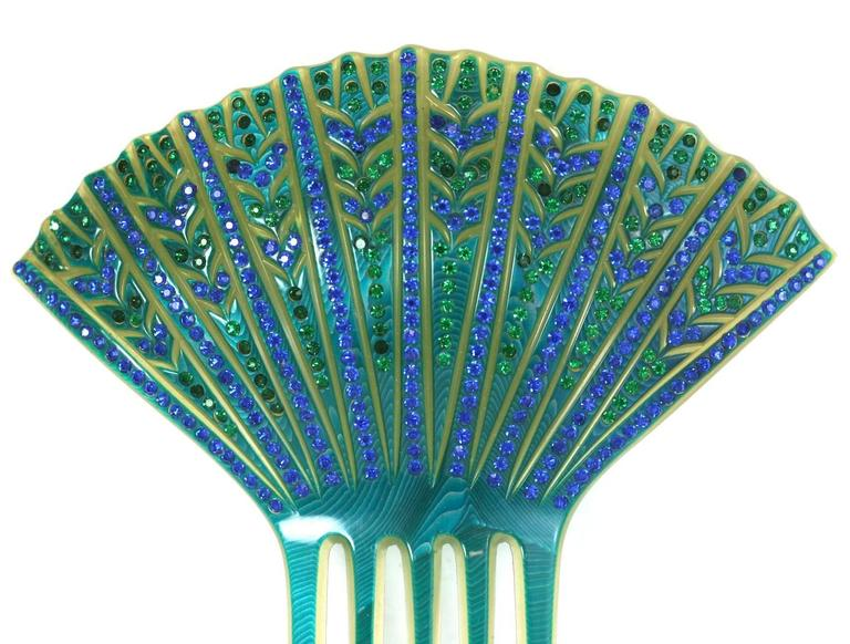Elaborate French Art Deco Paste Comb In Excellent Condition For Sale In Riverdale, NY