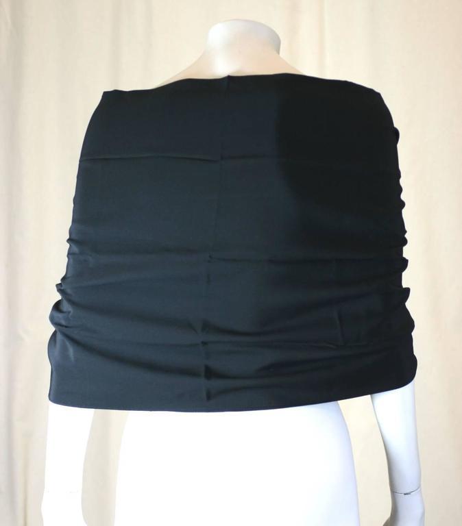 Black Silk Crepe Tassel Stole 4