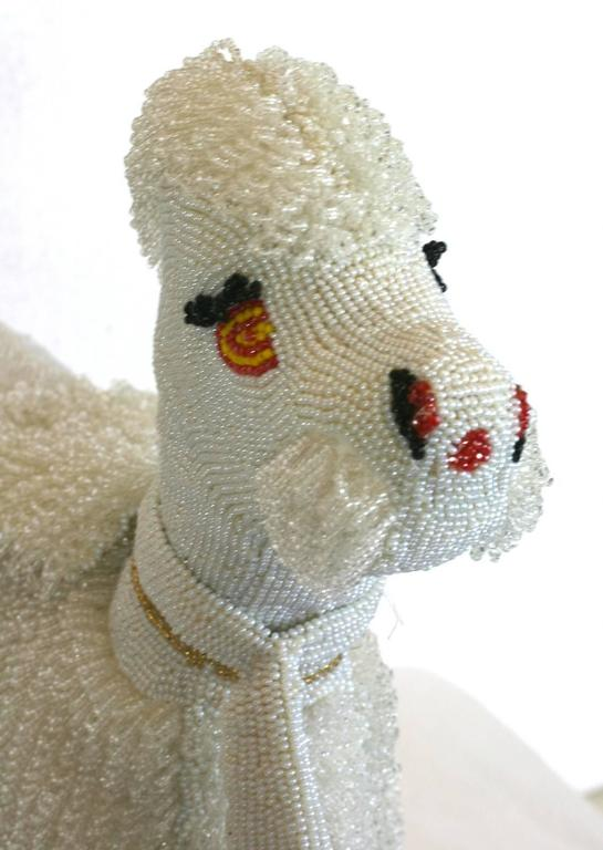 Beige Walborg 1950s Hand Beaded Companion Poodle Purse For