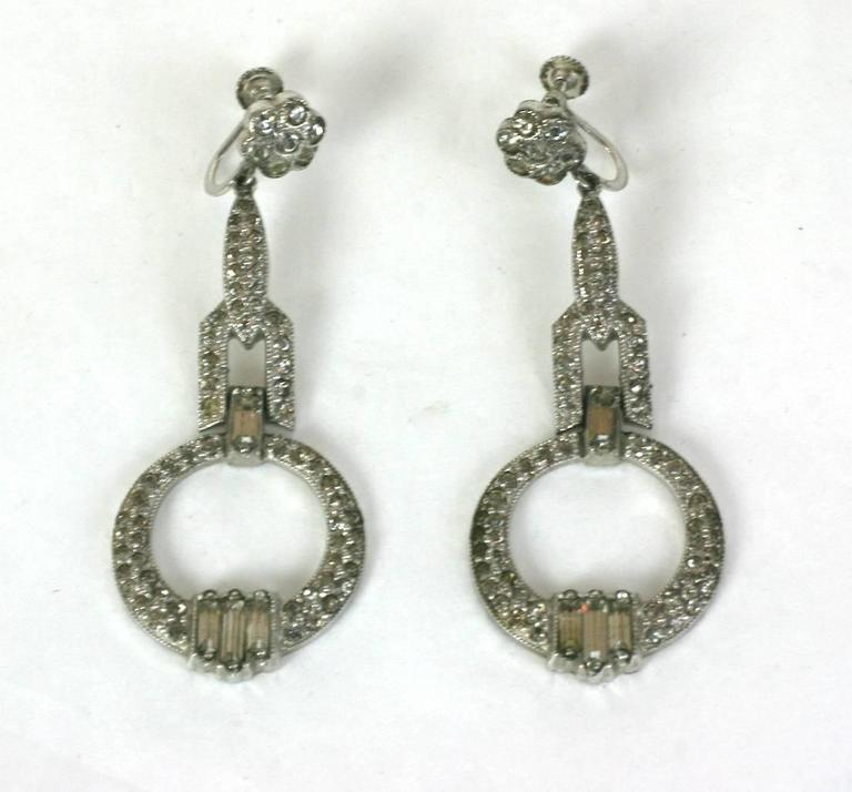 Attractive Art Deco and crystal pave, baguette paste articulated earrings. Screw back fittings. 2.25