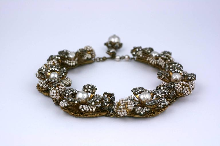 Art Deco Miriam Haskell Massive Rose Monte and Faux Pearl Flower Collar For Sale