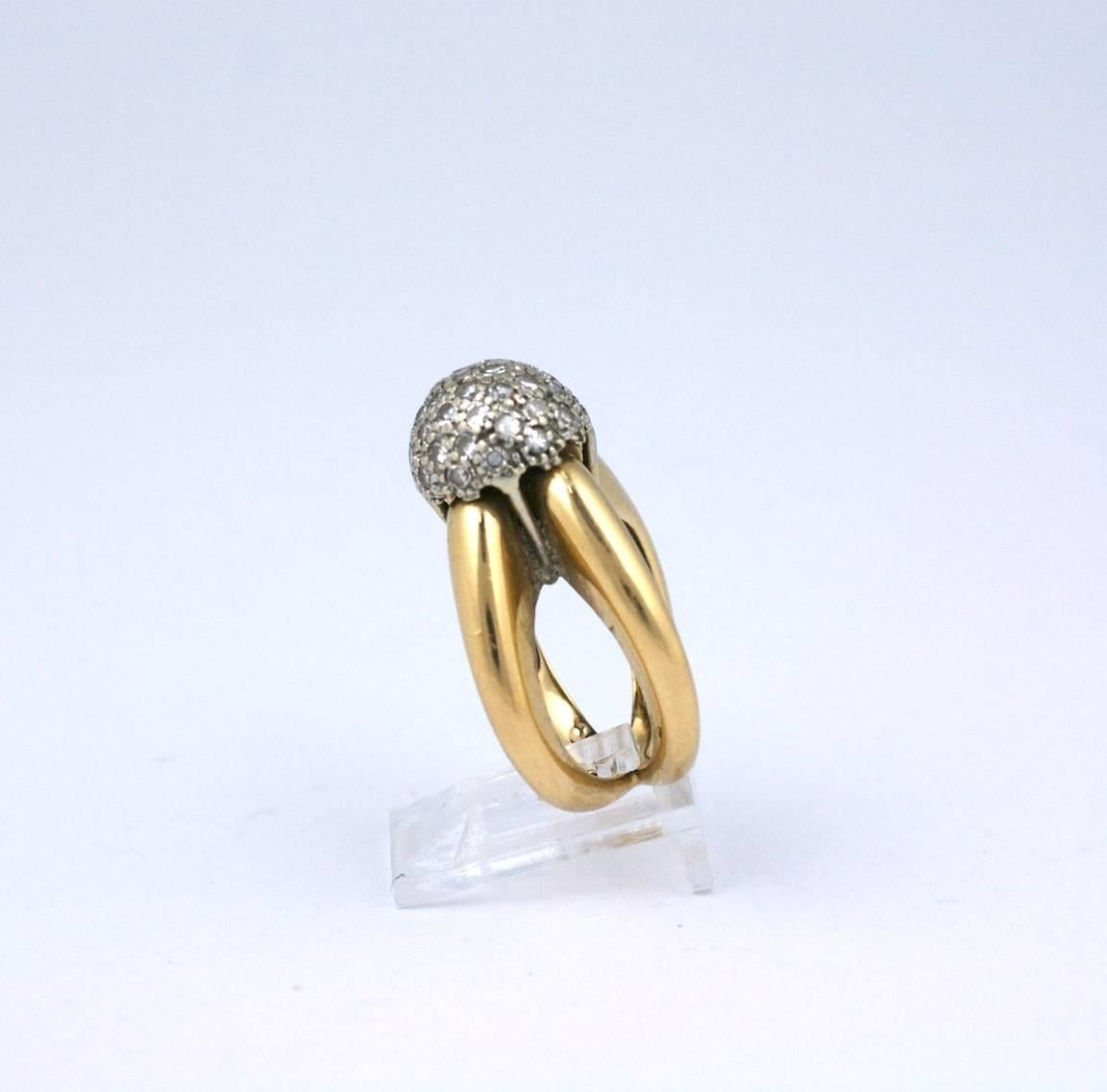 1960s Pave Diamond Ball Ring For Sale at 1stdibs