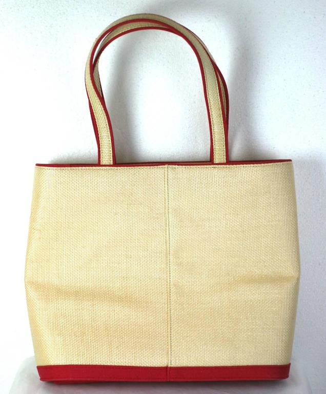 White Lulu Guiness Paper Doll Raffia Tote For Sale