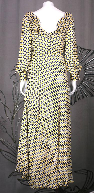 Galanos Yellow and Black Polka Dot Crepe Gown In Excellent Condition For Sale In Riverdale, NY