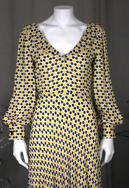 Women's Galanos Yellow and Black Polka Dot Crepe Gown For Sale