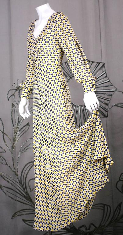 Beige Galanos Yellow and Black Polka Dot Crepe Gown For Sale