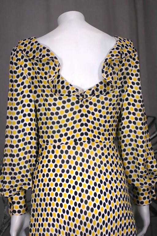 Galanos Yellow and Black Polka Dot Crepe Gown For Sale 1