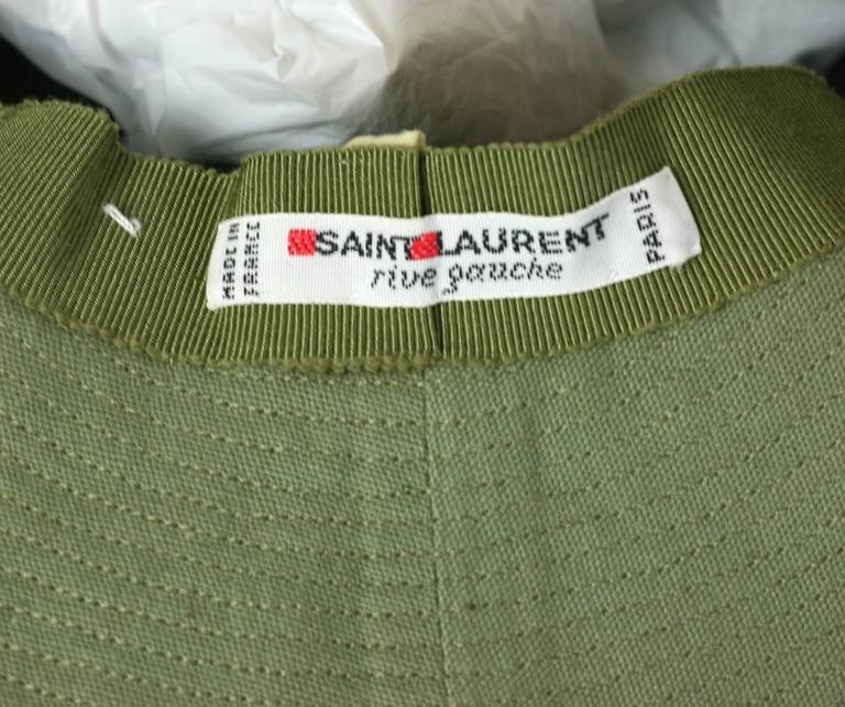 Yves Saint Laurent Green Twill Fisherman's Hat 5