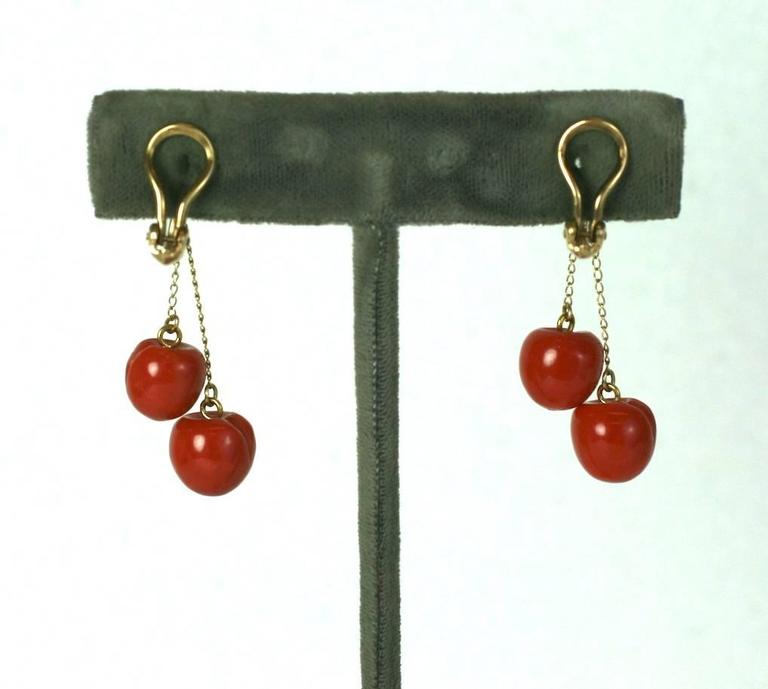 """Charming Coral """"Cherry"""" Earrings In Excellent Condition For Sale In Riverdale, NY"""