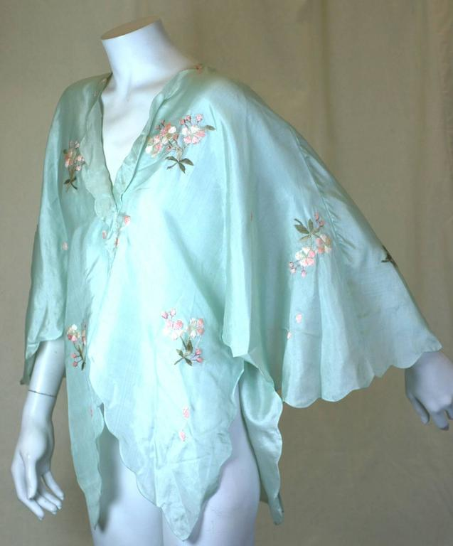 Blue Edwardian China Silk Butterfly Blouse For Sale