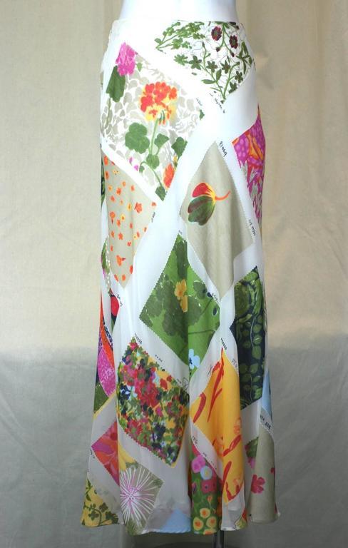 Beige Moschino Printed Chiffon Fabric Swatch Skirt For Sale