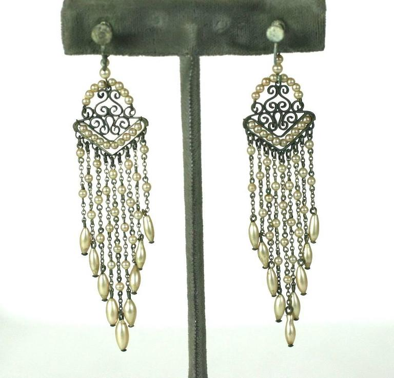 Art Deco Faux Pearl Fringe Earrings In Excellent Condition For Sale In Riverdale, NY