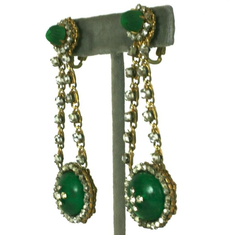 Miriam Haskell Faux Emerald Long Earrings For Sale at 1stdibs