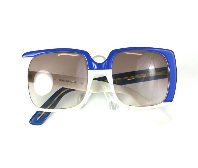 Yves Saint Laurent Blue and White Color Block Sunglasses 2