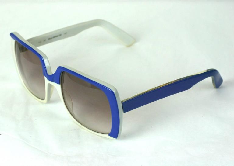 Yves Saint Laurent Blue and White Color Block Sunglasses 3