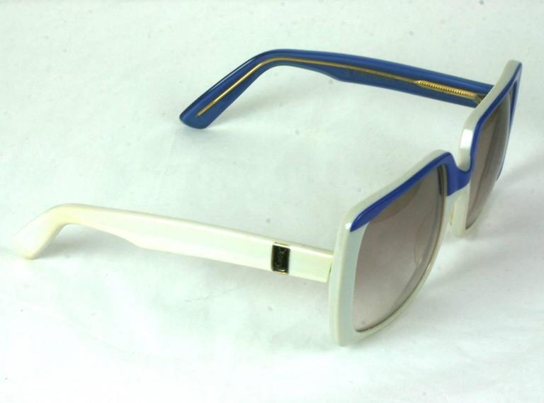 Yves Saint Laurent Blue and White Color Block Sunglasses 4