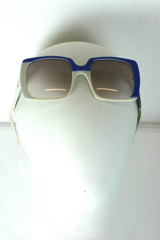 Yves Saint Laurent Blue and White Color Block Sunglasses 6