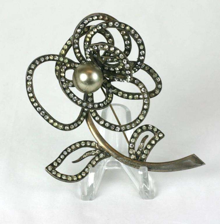Abstract French Crystal and Pearl Rose Brooch For Sale 1