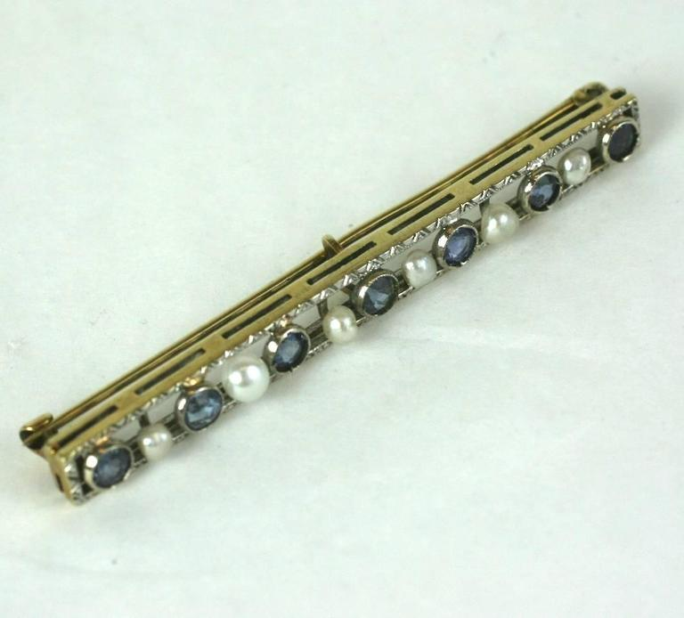 Edwardian Sapphire and Pearl Bar Pin 2