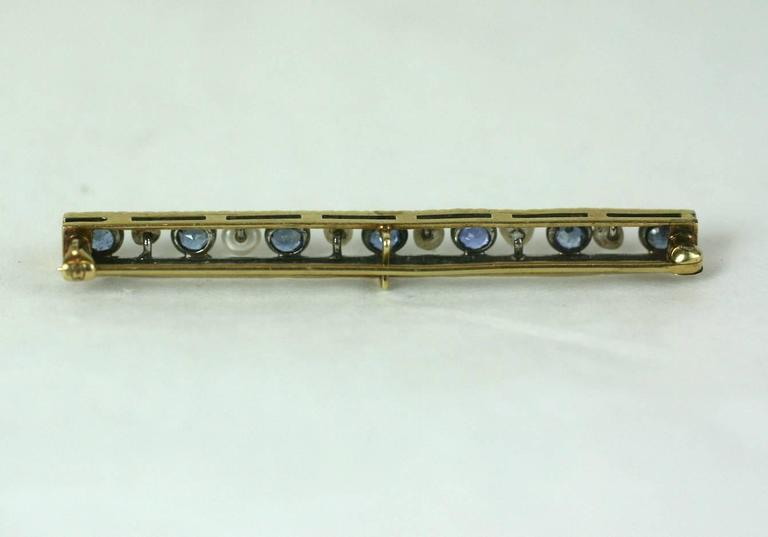 Edwardian Sapphire and Pearl Bar Pin 3