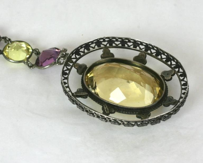 Lovely Art Deco Crystal and Citrine Sautoir For Sale 3