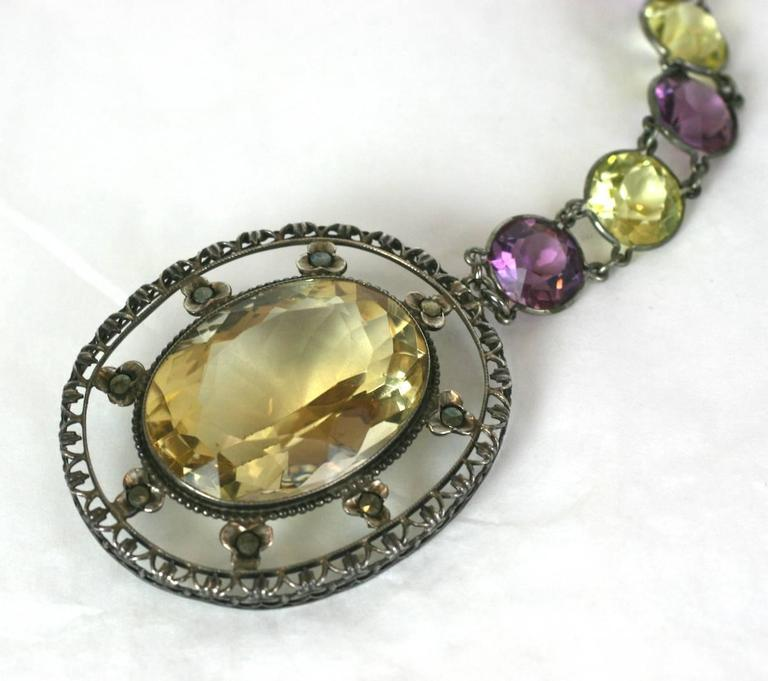 Lovely Art Deco Crystal and Citrine Sautoir For Sale 2