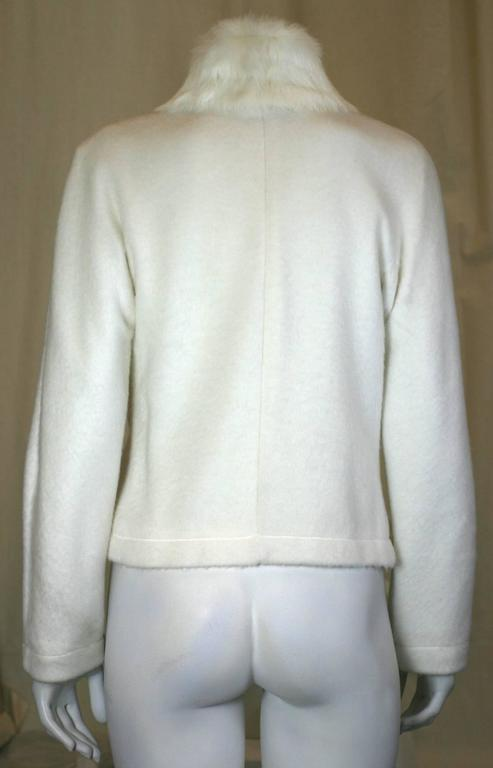 Gray Moschino Felted Fleece Zip Jacket with Rabbit Collar For Sale