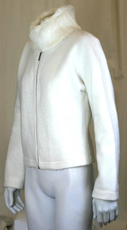 Moschino Felted White Fleece Zip front Jacket with cozy Rabbit Collar, fully satin lined. Excellent condition. 