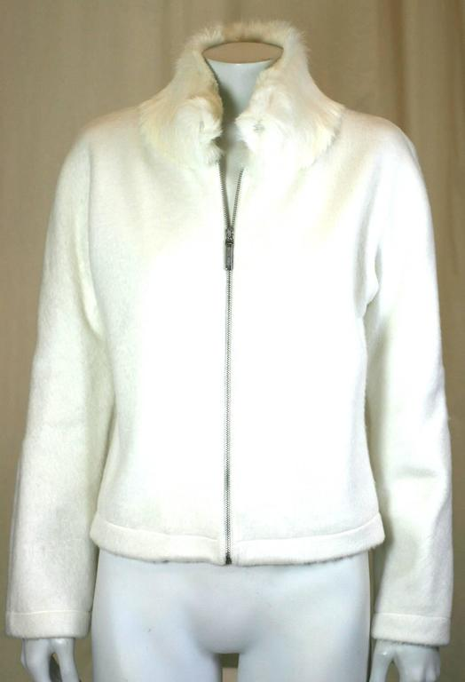 Moschino Felted Fleece Zip Jacket with Rabbit Collar In Excellent Condition For Sale In Riverdale, NY
