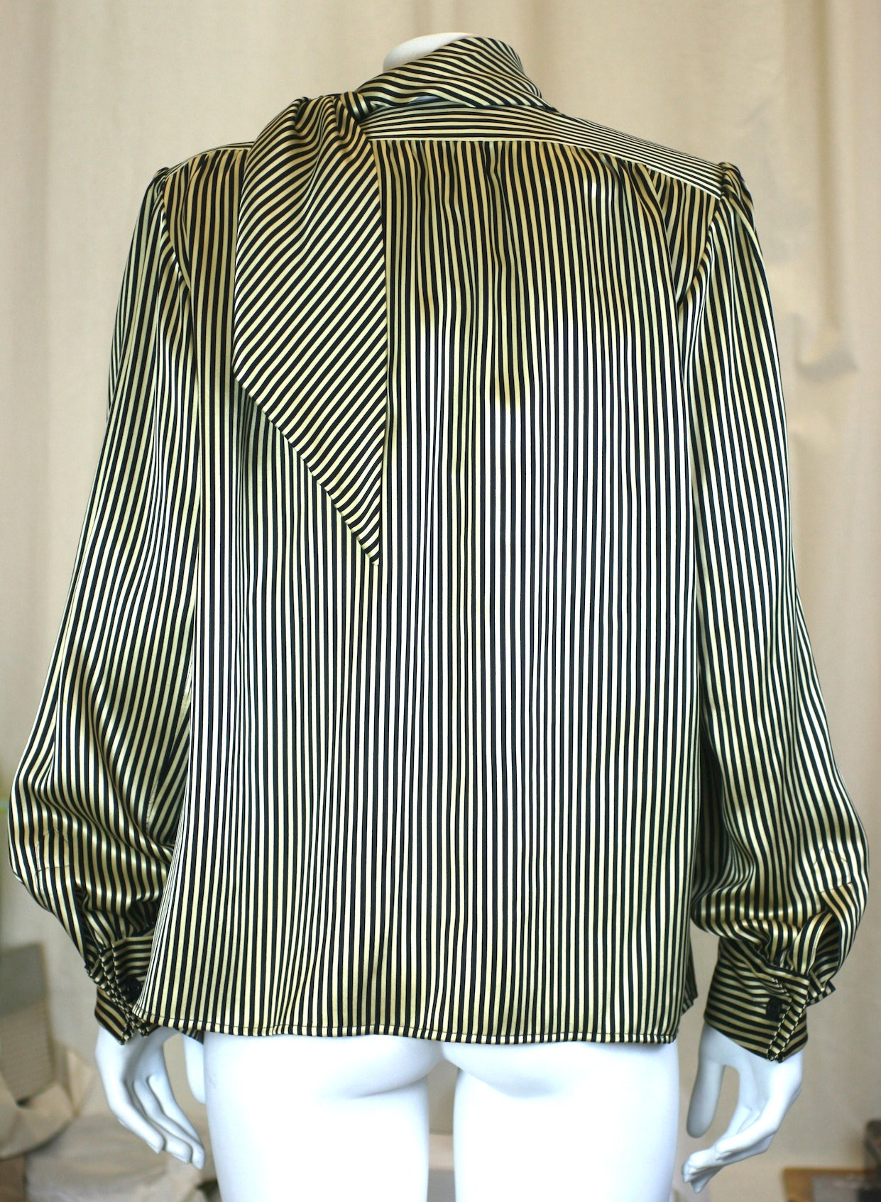 8ee4b5f5f Yves Saint Laurent Silk Satin Tie Blouse For Sale at 1stdibs