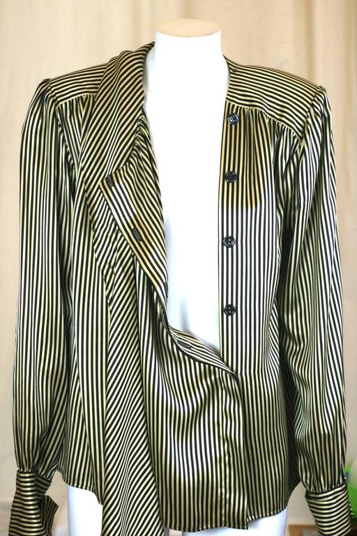 b94be0cfa Yves Saint Laurent Silk Satin Tie Blouse In Excellent Condition For Sale In  Riverdale, NY