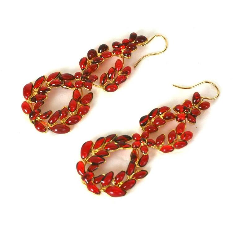 "MWLC Ruby Poured Glass ""Garland"" Earrings 4"