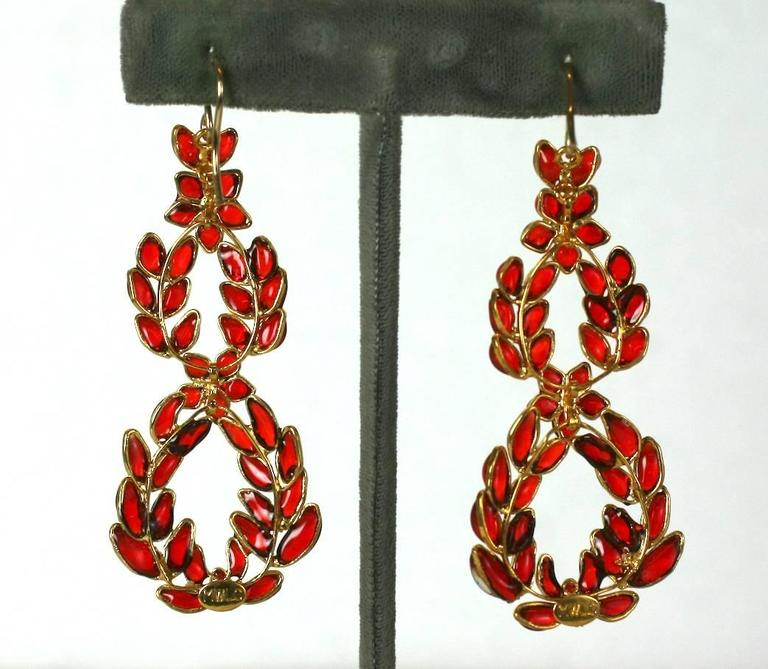 "MWLC Ruby Poured Glass ""Garland"" Earrings 2"