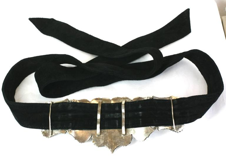 Victorian Cut Steel Buckle on Suede Sash In Excellent Condition For Sale In Riverdale, NY