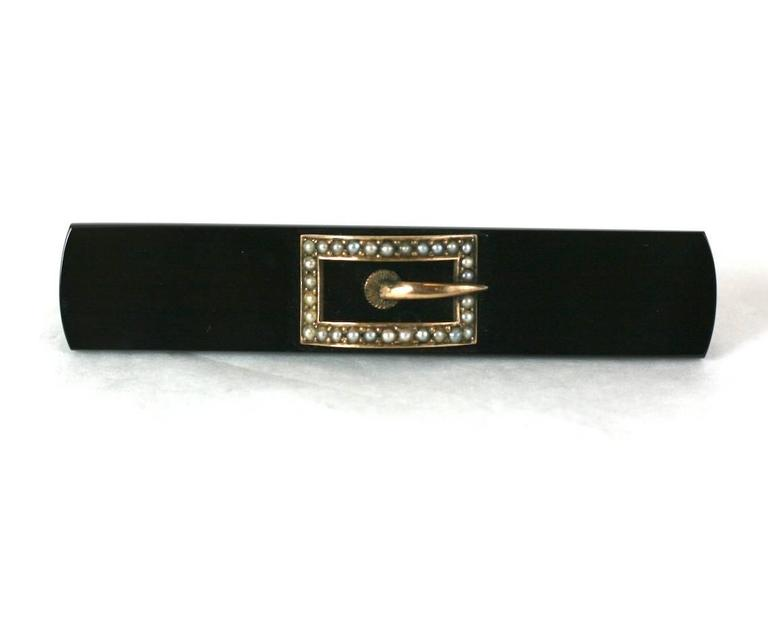 Women's or Men's Victorian Onyx and Seed Pearl Buckle Brooch For Sale