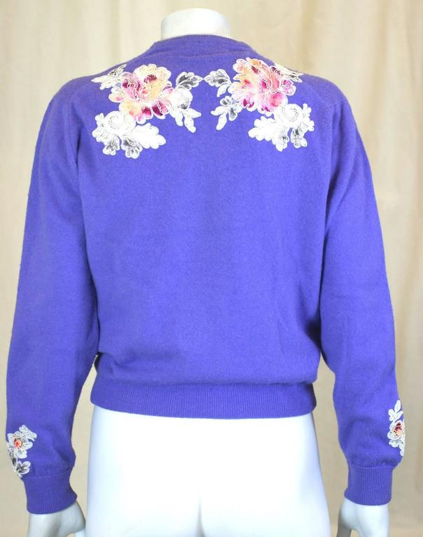 cd9fa59739 Purple Cashmere Cardigan with Lace Decoration For Sale at 1stdibs