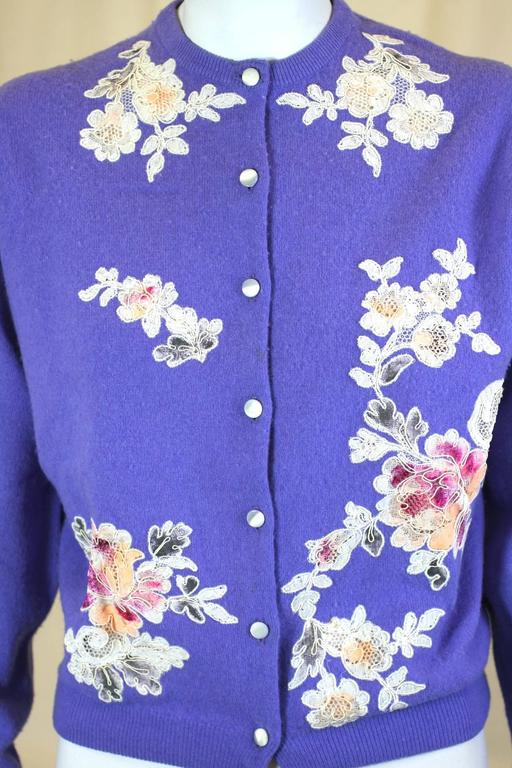 10e5542410 Lovely Purpley blue Cashmere Cocktail Cardigan with lace decoration by  Stylecraft of Miami. Hand cut