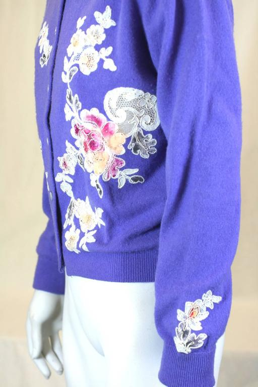 17f8264dc6 Purple Cashmere Cardigan with Lace Decoration In Excellent Condition For Sale  In Riverdale