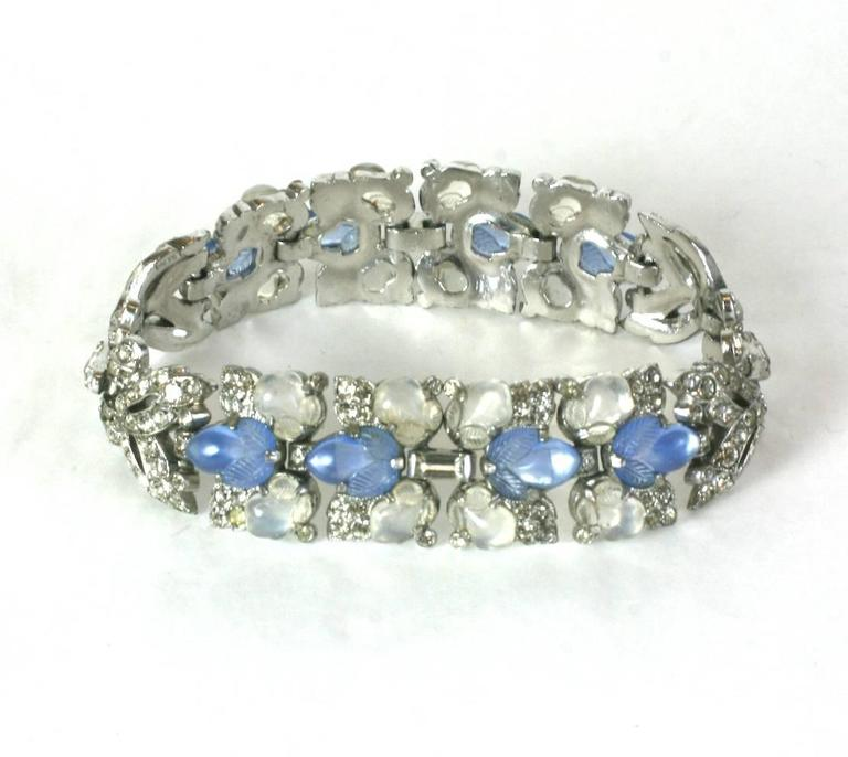 Trifari By Alfred Philippe Art Deco Bracelet With Faux Blue Moonstone And Opal
