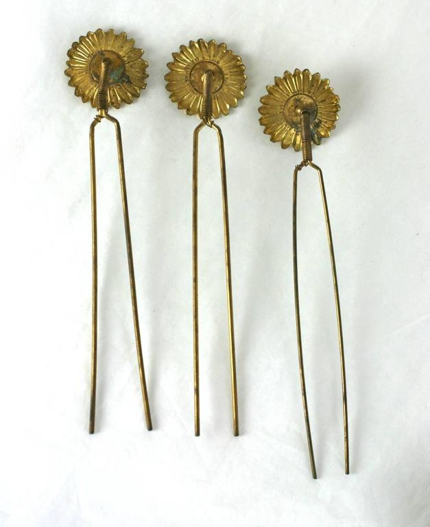 Charming Victorian Tremblant Sunflower Hair Picks 3