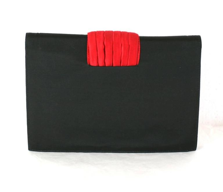 Valentino Faille and Pleated Satin Clutch with Jeweled Chain In Excellent Condition For Sale In Riverdale, NY