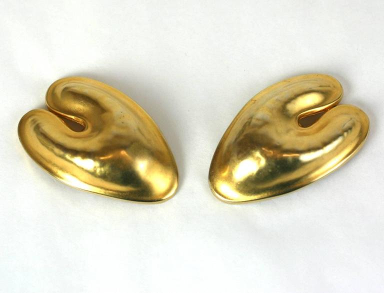 Robert Lee Morris Matte Gold Ear Clips from the 1980's. Super large and dimensional, similar in style to the sculptural designs created for Donna Karan's collections in the period. 2.5