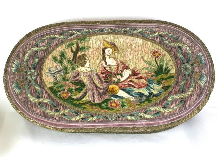 Wonderful  Deco French Boudoir Box with Chenille Embroidery 6