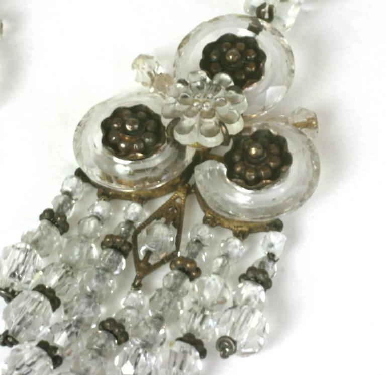 Wonderful Chinese Art Deco Rock Crystal Fringe Earrings For Sale 5